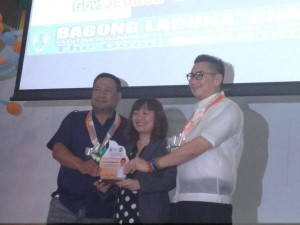 Rep JV Ejercito and Laguna Gov. Jeorge ER Ejercito with Grace Nicolas, who was a keynote speaker.