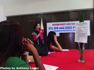 BM Bencito gives her message of support to the members of the STI, HIV and AIDS Council.