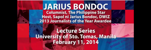 Journalists of the Year (JOY) Lecture Series at UST: Jarius Bondoc on why journalists write