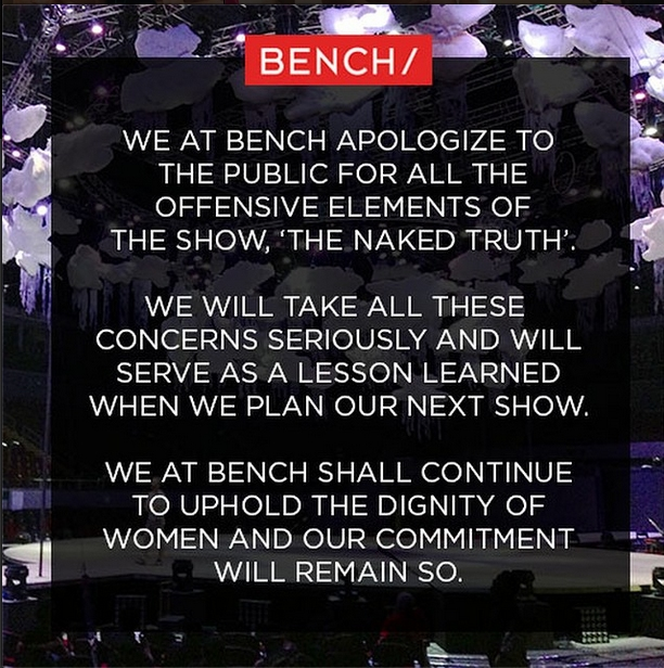 Homegrown fashion brand Bench's statement on the offensive elements at The Naked Truth fashion show