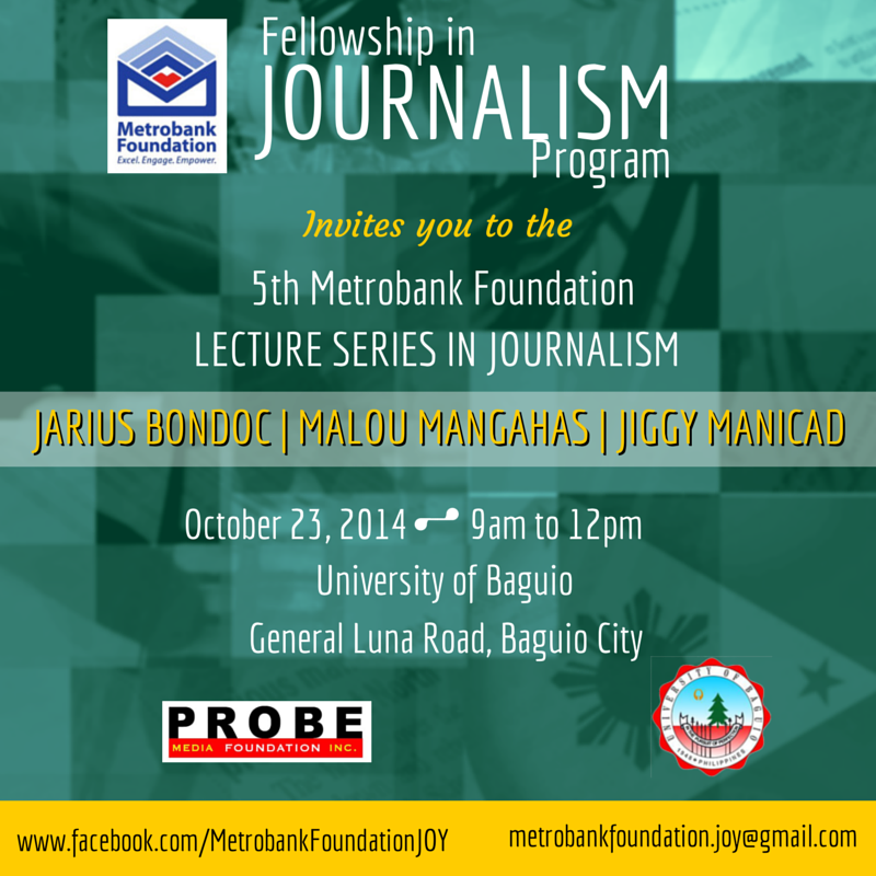Probe Media Foundation, Inc. and Metrobank Foundation organized #JOYLectures in several schools in Manila, Baguio City, Dumaguete City, and Davao City for Journalists of the Year to share their experience and interact with journalism and communication students all over the country.