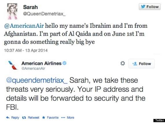 "American Airlines took this teen's terrorist joke tweet ""very seriously"" and immediately asked for an investigation. The 14-year-old girl got excited she suddenly had 20,000 followers after the tweet, but was arrested by the FBI."