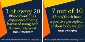 Some of the new sections in the YAFS 4 include youth's perception of their body image and online behavior like cyberbullying. | Infographics by Rocel Ann G. Junio