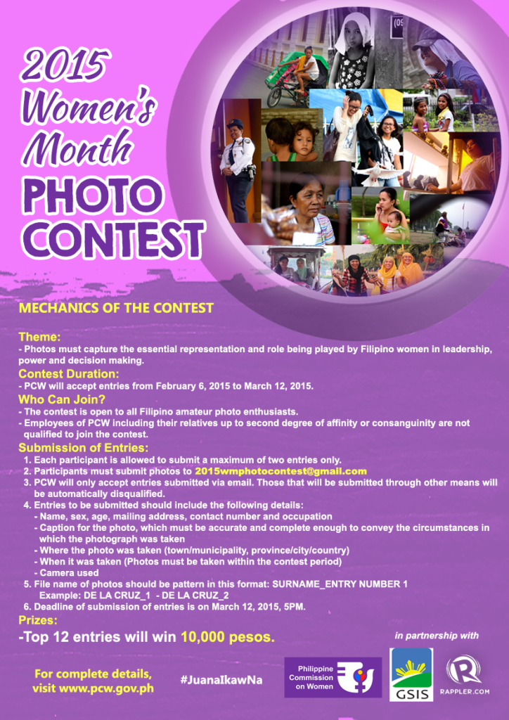 2015 Women's Month Photo Contest poster
