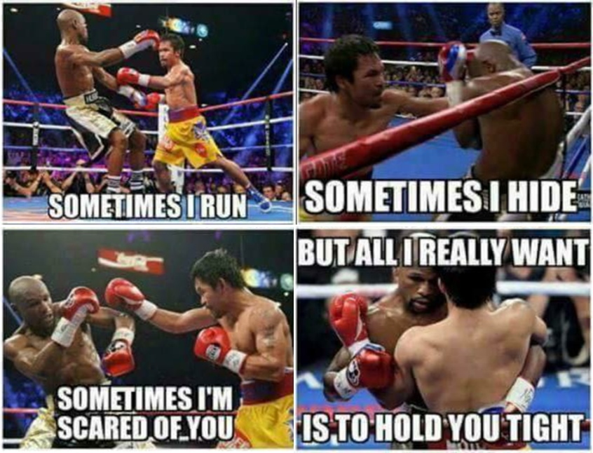 "A popular meme that circulated right after the #MayPac fight uses the lyrics of ""Sometimes"" by Britney Spears"