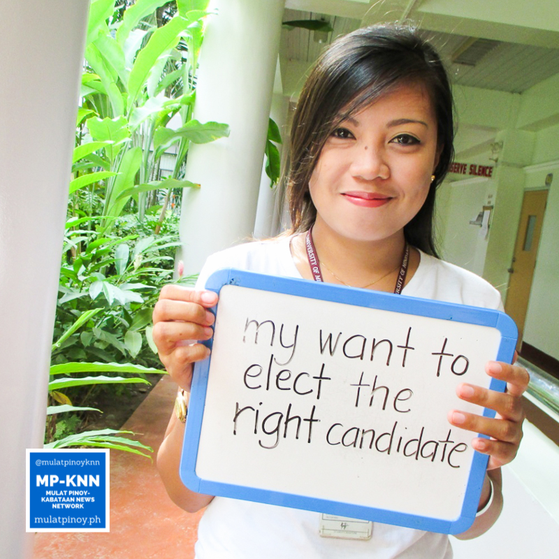 """""""Aside from it is a requirement for our church to be a registered voter, what triggered me to register as a voter was my want to elect the right candidate who can really change this nation."""" - Noreen San Luis 