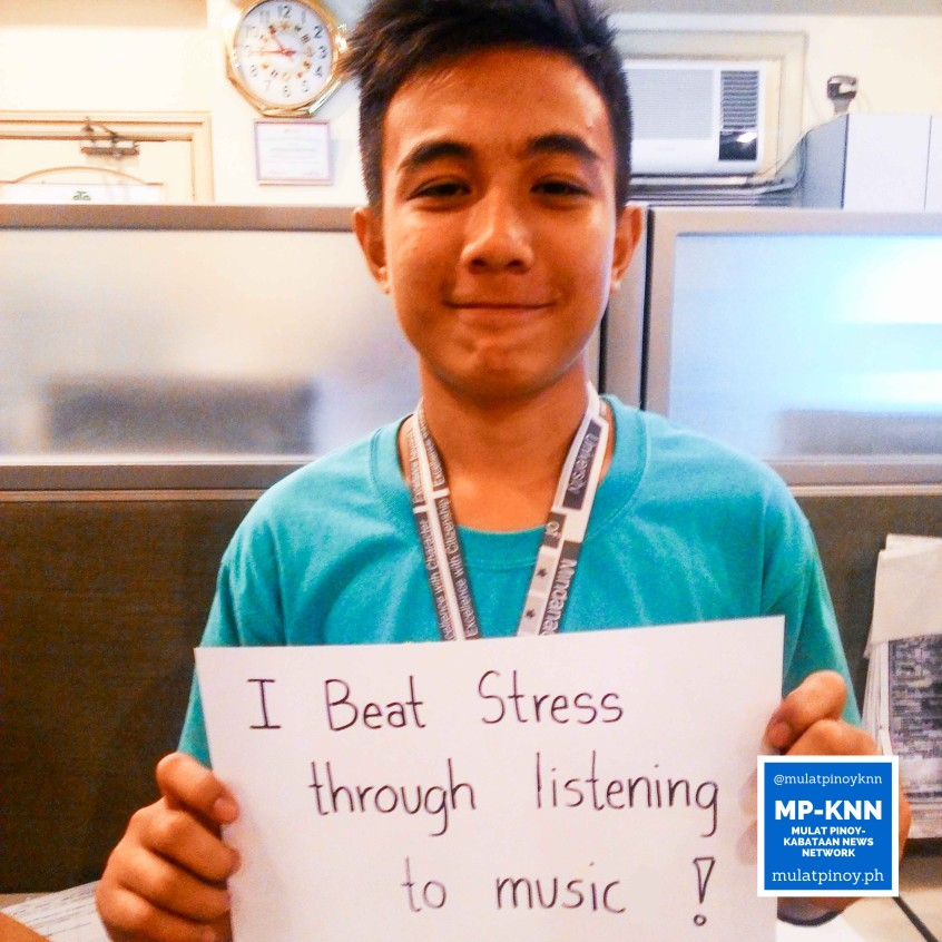 "Ways to be a stress-free working student: ""I beat stress through listening to music."" 