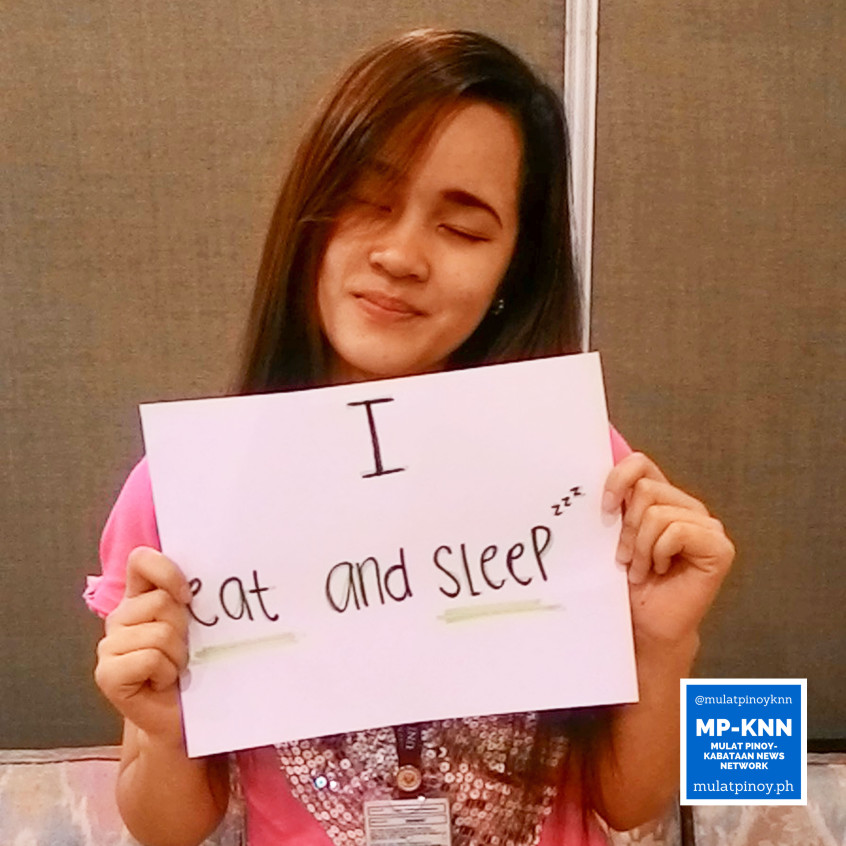 """Ways to be a stress-free working student: """"I eat and sleep."""" 