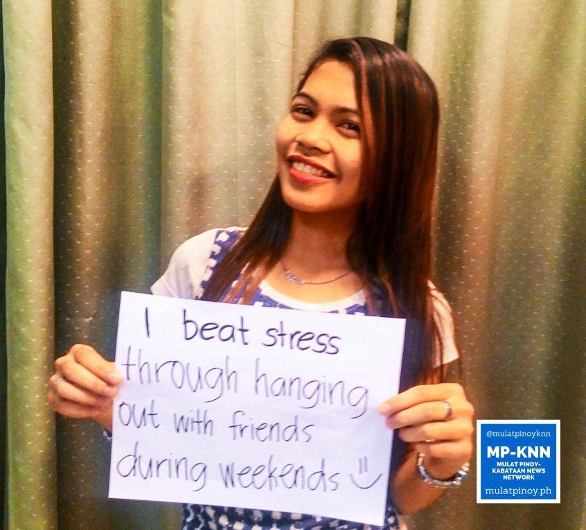 """Ways to be a stress-free working student: """"I beat stress through hanging out with friends during weekends."""" 