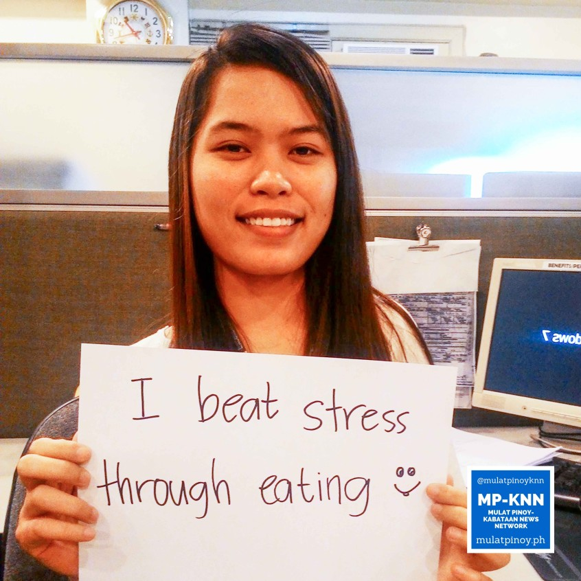 "Ways to be a stress-free working student: ""I beat stress through eating."" 