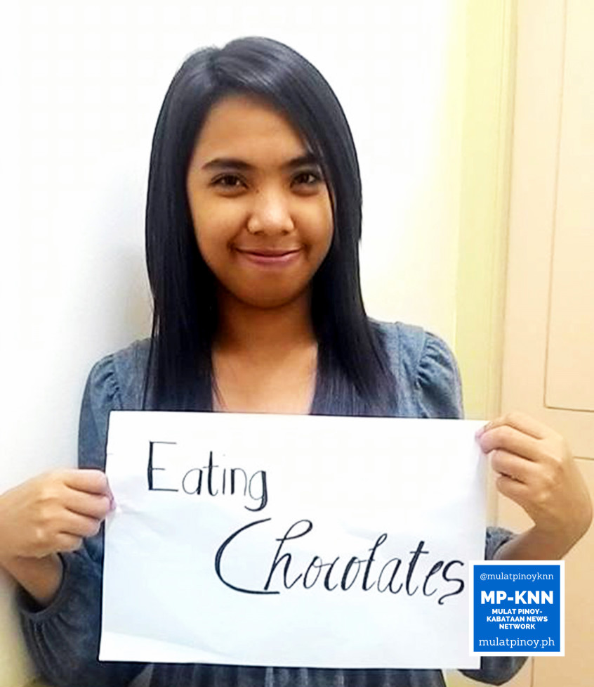 "Ways to be a stress-free working student: ""Eating chocolates."" 