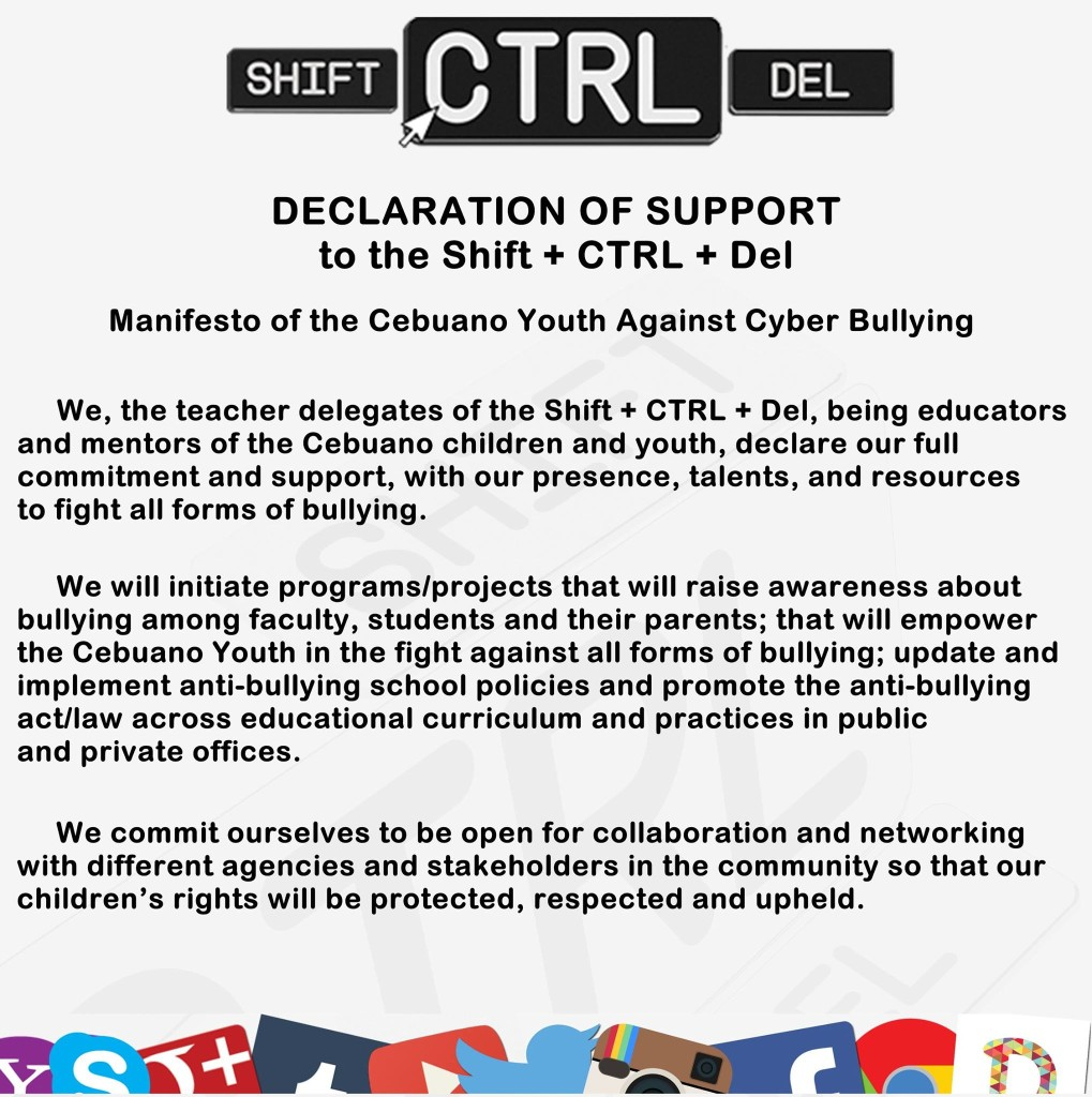 """""""Declaration of Support to Cebuano Youth Manifesto"""" created at the #CTRLYouthCon last Oct 17-18, 2015 in Cebu."""